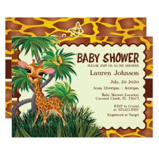 Cartão Girafa bonito, chá de fraldas da selva