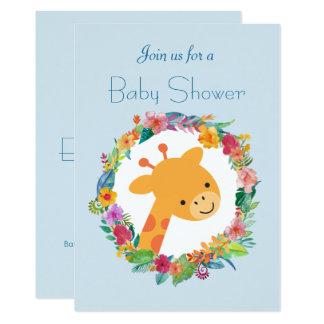 Cartão Girafa bonito com um chá de fraldas floral da