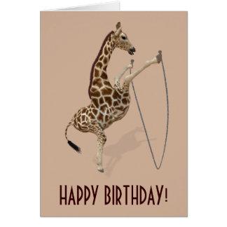 Cartão Girafa de salto da corda legal