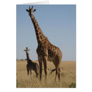 Cartão Girafa do adulto & do bebê