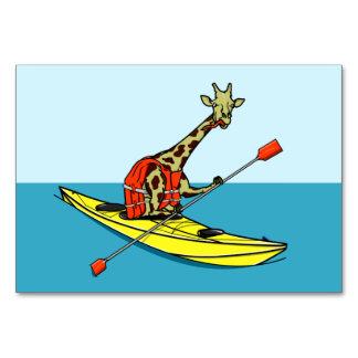 Cartão Girafa que Kayaking