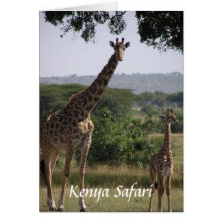 Cartão Girafa, safari de Kenya