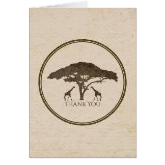 Cartão Girafas africanos do safari dois que Wedding o