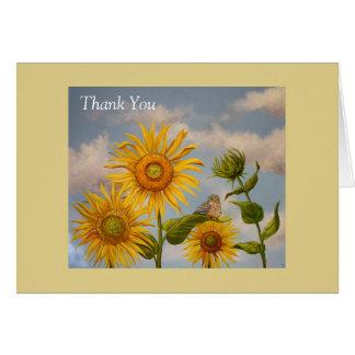 Cartão girassóis com o obrigado do bluebird do bebê você