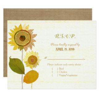 Cartão Girassóis da colagem que Wedding a escolha RSVP de