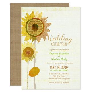 Cartão Girassóis rústicos da colagem que Wedding o