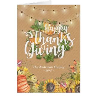 Cartão Girassol da abóbora das folhas de bordo do outono
