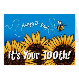 Cartão girassol da fuga da abelha - 100 anos velho