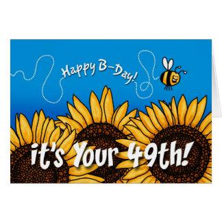 Cartão girassol da fuga da abelha - 49 anos velho
