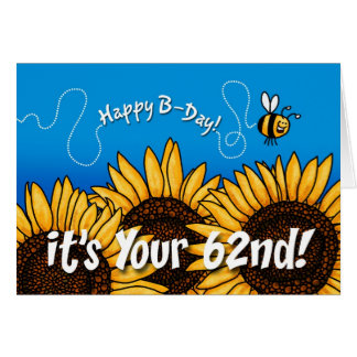 Cartão girassol da fuga da abelha - 62 anos velho