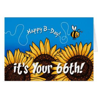 Cartão girassol da fuga da abelha - 66 anos velho