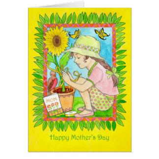 Cartão Girassol do dia das mães, menina com borboletas