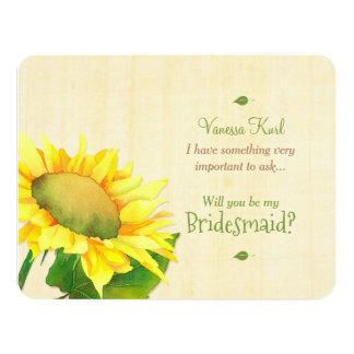 Cartão Girassol do país você será minha dama de honra