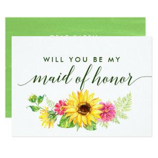 Cartão Girassol do verão você será minha madrinha de