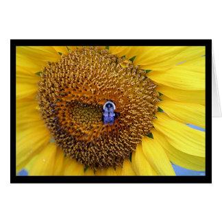 Cartão Girassol e abelha Notecard
