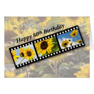 Cartão girassol Filmstrip do aniversário do 80