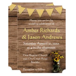 Cartão Girassol rústico e bandeiras que wedding