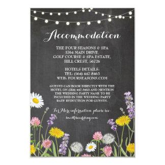 Cartão Giz do casamento da acomodação das flores
