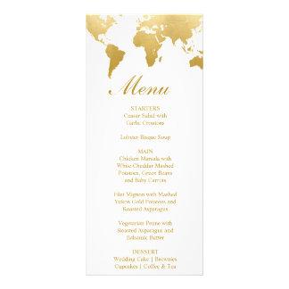 Cartão Glam do menu do casamento do Globetrotter
