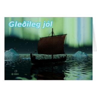 Cartão Gleðileg Jól - navio e aurora boreal de Viking