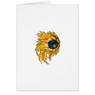 Cartão Globo ocular flamejante no desenho do fogo