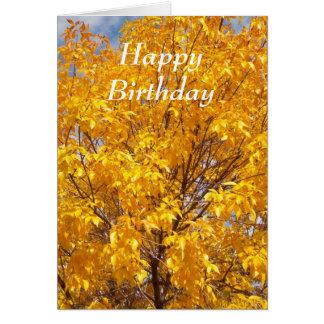 Cartão Glória amarela do outono - personalizada