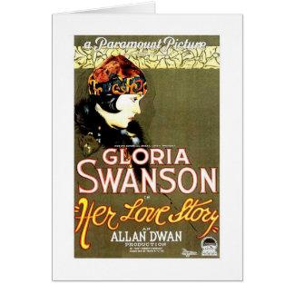 Cartão Gloria Swanson seu cartaz cinematográfico de Love