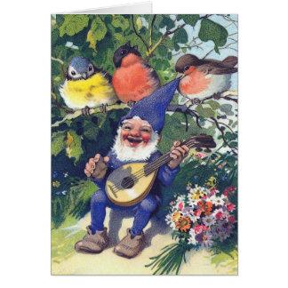Cartão Gnomo feliz com pássaros