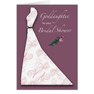 Cartão Goddaughter, ameixa da silhueta do vestido do chá