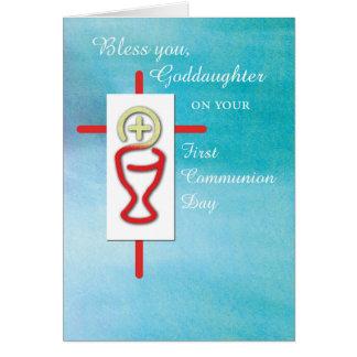 Cartão Goddaughter, primeiro comunhão santamente,