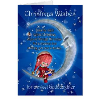 Cartão godddaughter, noite antes do Natal com o duende
