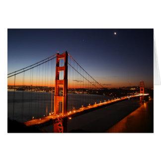Cartão Golden gate bridge no nascer do sol