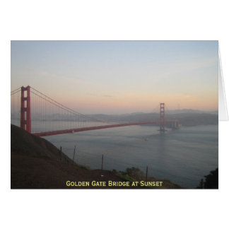 Cartão Golden gate bridge no por do sol