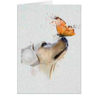 Cartão Golden retriever com uma borboleta em seu nariz
