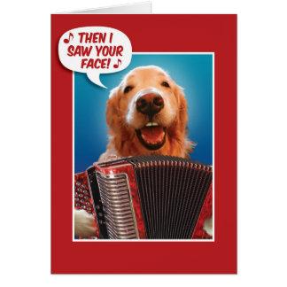 Cartão Golden retriever do Acordeão-Playing do dia dos