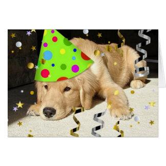 Cartão Golden retriever do animal de festa de aniversário