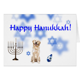 Cartão Golden retriever feliz de Hanukkah