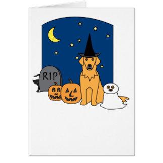 Cartão Golden retriever o Dia das Bruxas
