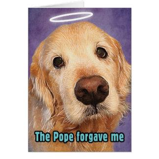Cartão Golden retriever perdoado pelo papa Desculpa