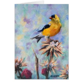 Cartão Goldfinch americano em belas artes do cardo