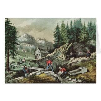 Cartão Goldmining em Califórnia, 1871