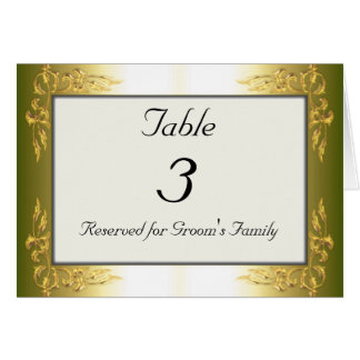 Cartão goldtone do número da mesa do casamento