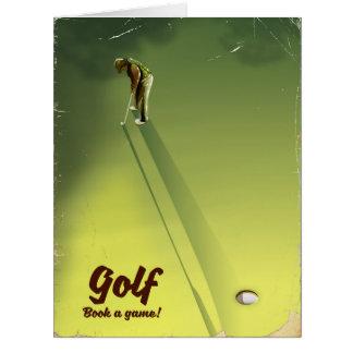 """Cartão Golfe """"livro poster vintage de um jogo"""""""
