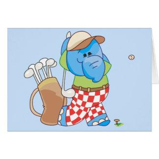 Cartão Golfing azul do elefante de Lil