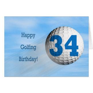 cartão golfing do 34o aniversário