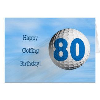 cartão golfing do aniversário do 80