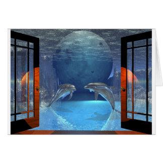 Cartão golfinho da arte 3d junto