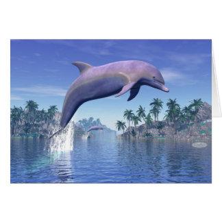 Cartão Golfinho nos trópicos - 3D rendem