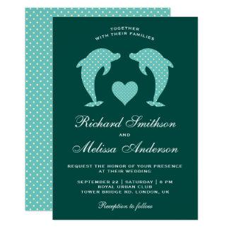 Cartão Golfinhos românticos elegantes bonitos que Wedding