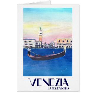 Cartão Gôndola de Veneza Italia no canal grande com San